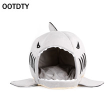 OOTDTY Pet Supplies Winter Warm Cute Shark Mouth Pet Dog Bed Cat House Removable Washable Cartoon Sofa Couch Bed Kennel