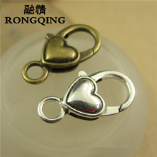RONGQING 40pcs/lot Unique Design Love Heart Decorative Lobster Clasps Jewelry Findings 27*14MM Jewellery Making