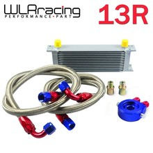 WLRING STORE- AN10 OIL COOLER KIT 13RWOS TRANSMISSION OIL COOLER SILVER+OIL FILTER ADAPTER BLUE + STAINLESS STEEL BRAIDED HOSE