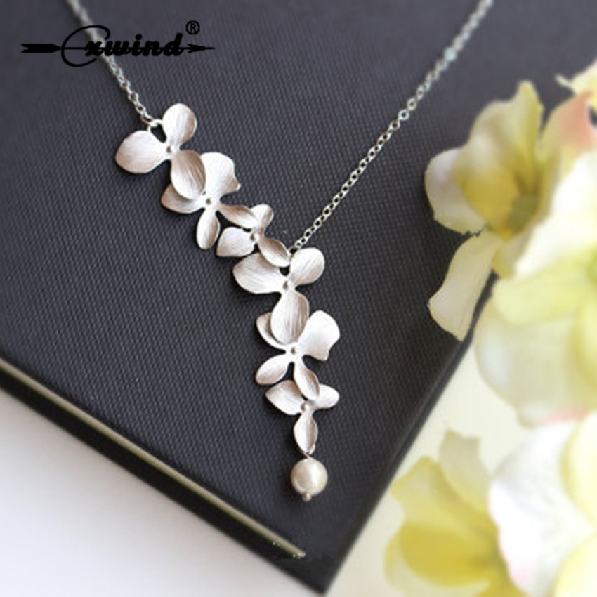 Cxwind Fashion Orchid Flower Pendant Gold Silver Plated Flower Necklace Charm Jewelry For Women Party Dress Accessories Gift
