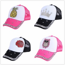 New Baby Boys Girls Crystal apple Bling Snapback Hats Caps Baseball Cap Kids Children Summer Sun Hats 3-10 Years brand casquette