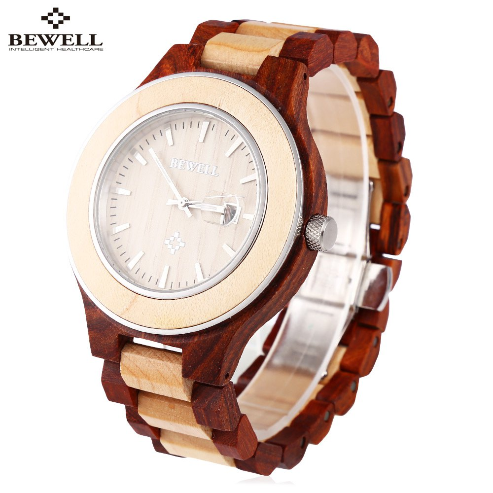 BEWELL Men Quartz Watch, Luminous Pointer Date Wooden Wristwatch, Male Fashion Wood Watch, Water Resistant Casual Watch<br>