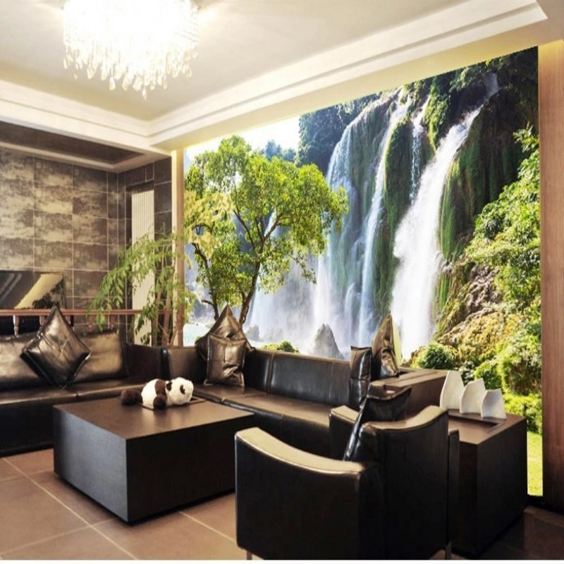 Custom 3D Waterfall wall paper 3D stereoscopic large living room sofa wall mural landscape wallpaper room papel de parede<br><br>Aliexpress
