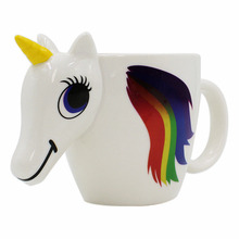 Cute cartoon unicorn ceramic cup creative home fashion color heated drinking cup Christmas holiday birthday gifts(China)
