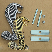 Trendy 3D Cobra Metal Sticker Car Grille Turning Logo Cobra Emblem for Ford Shelby Mustang With screws  CSL2016
