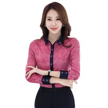 2017 Autumn Elegant women's shirt full-sleeve Turn-down Collar blouse OL fashion office Ladies plus size 4XL tops Red Blue Grey(China)