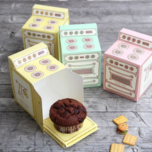 5 PCS Colored Oven Shape Paper Gift Box Muffin Cake Box Chocolate Biscuits Cookies Candy Box for DIY Baking Package