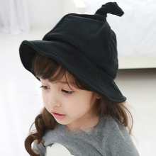 Fashion Cotton Kids Hats for Girls Boys Cap Steeple Witches Children Bucket Hat for 2-5 Years Black/Yellow
