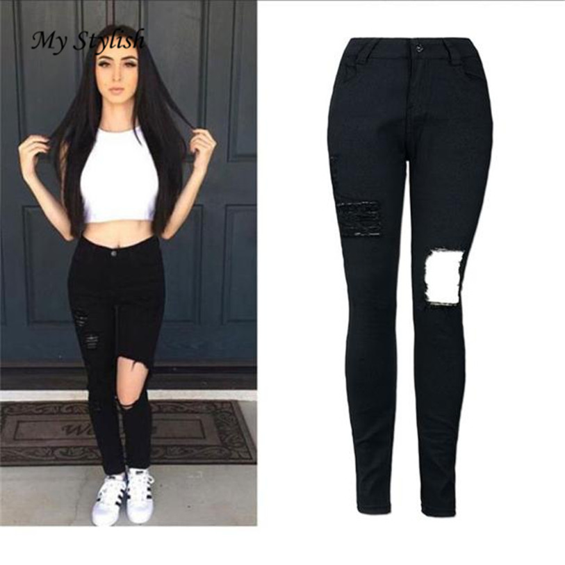 Cheap Price  Hot 2017 New Fashion Ladies Women High Waist Denim Skinny Ripped Pants Stretch JeanSlim Pencil High Quality Dec 15Îäåæäà è àêñåññóàðû<br><br><br>Aliexpress