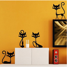 4 Black Cats Wall Stickers Child Living Room  Bedroom Decor TV Wall Decal Vinyl Art Mural Home Decor