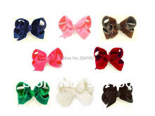 "8PCS Mix color  Large 5""   Velvet  Boutique Chunky bow Clip  headwear Headdress girl"