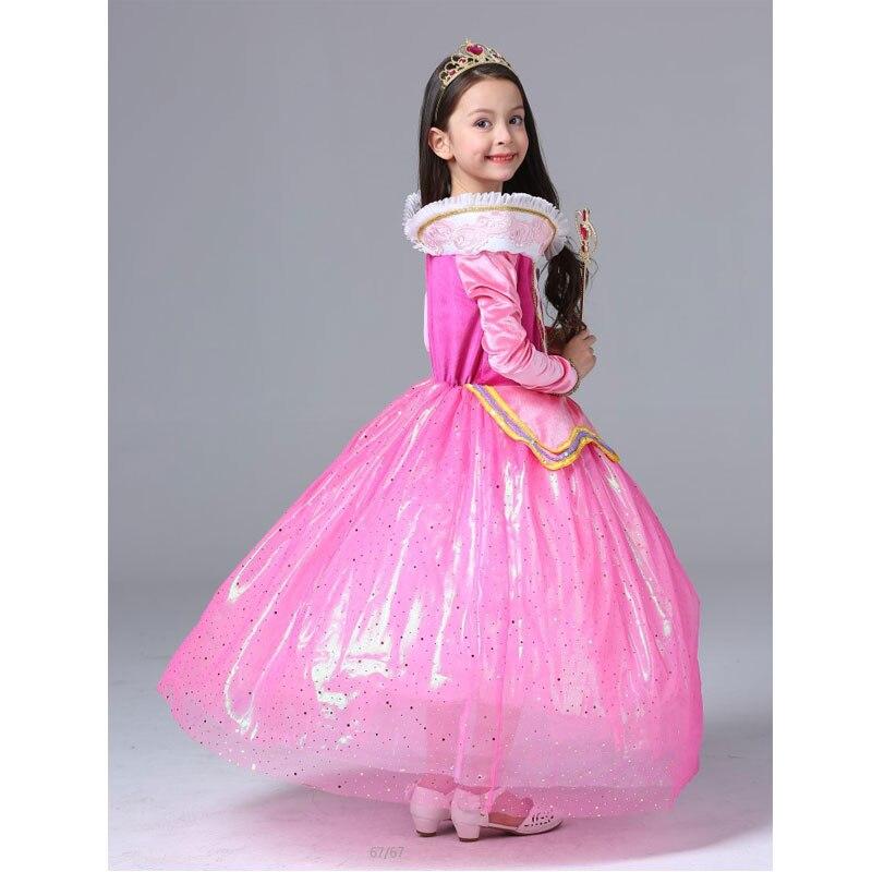 2017 New Lace Girl Dress Girls Clothing Sleeping Beauty Princess Dress Pink Long Sleeve Tutu-Dress 5-13 Years<br><br>Aliexpress