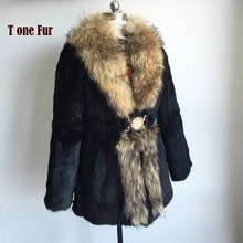 Factory Direct Wholesale Retail Customize OEM Plus Size Whole Skin Natural Rabbit Fur Coat with Real Raccoon Fur Colar KSR139(China)