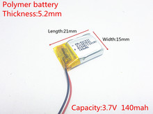3.7V 140mAh 521521 Lithium Polymer LiPo Rechargeable Battery ion cells For Mp3 Mp4 Mp5 DIY PAD DVD E-book bluetooth headset