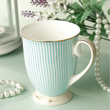 Free shipping British Purified Bone China Coffee Mug Quality Goods Gold Plating Ceramic Cup Fashion Striped Design