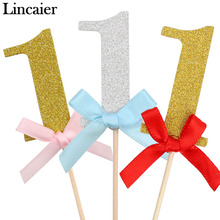 Lincaier 10 Pieces First Birthday Cupcake Toppers 1st Party Decorations Boy Girl I AM ONE Year Gold 1 Anniversary Paper Supplies(China)