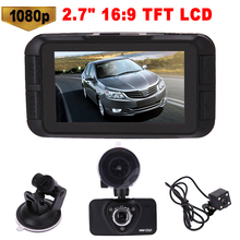 "2.7"" Car DVR High Definition 1080P 170 Degree Digital Video Recorder Night Vision Dual Lens Dashcam Camcorder with Rear Camera"