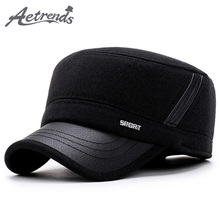 [AETRENDS] 2017 New Winter Hats for Men Military Cap with Ear Flaps Army Sailor Captain Caps Dad Hat Z-5900