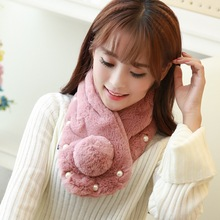 2016 New Winter Real Fur Scarf Angora Real Rabbit Hair Ball Scarf Thick Plush Pearl Ball Women Winter Scarf Warm Ring Wholesale(China)