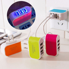 LED Triple USB Ports Portable Travel US Plug Home Wall Power Adapter Charger(China)