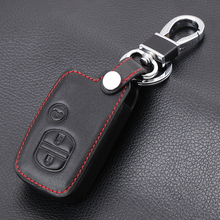 Car Genuine Leather Bag Remote Control Car Keychain Key Cover Case For Toyota Camry Highlander Crown Prado 3Buttons Smart Key(China)