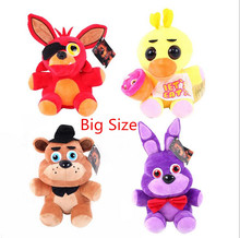 "Big Size 10"" Five Nights At Freddy's 4 FNAF Freddy Fazbear Bear Fox Rabbit Duck Plush Toys Doll Fnaf Foxy Toys(China)"