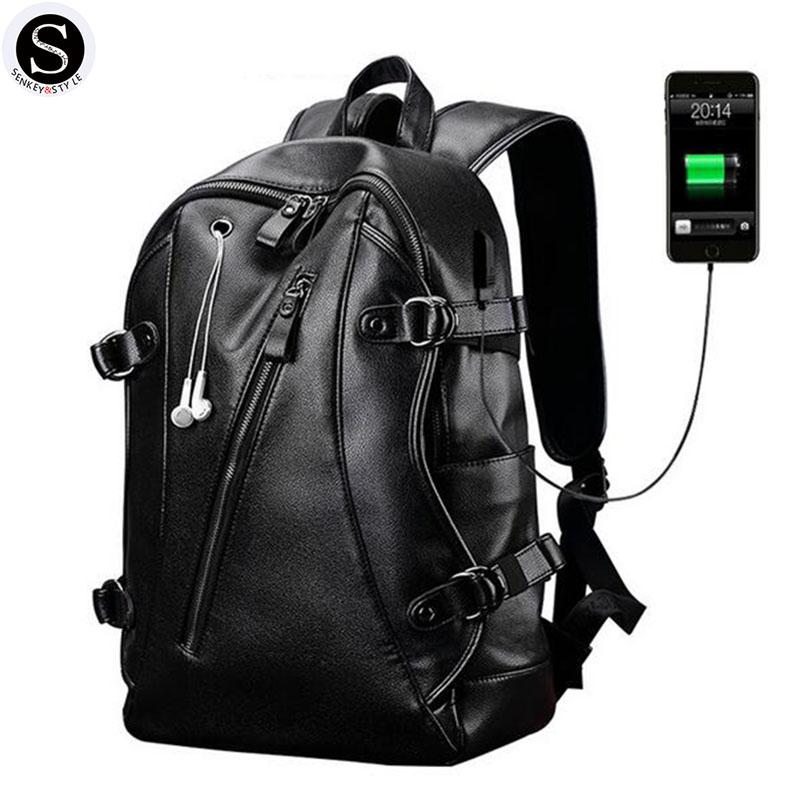 Senkey Style men backpack 2017 Leather Famous Brands School Bags For Teenagers Designer Backpack Men Large Capacity Fashion<br>