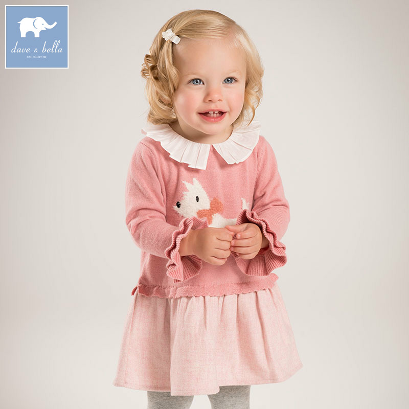 DBZ6136 dave bella autumn princess baby girls printed Knit Dress party birthday clothes children infant toddler clothes<br>