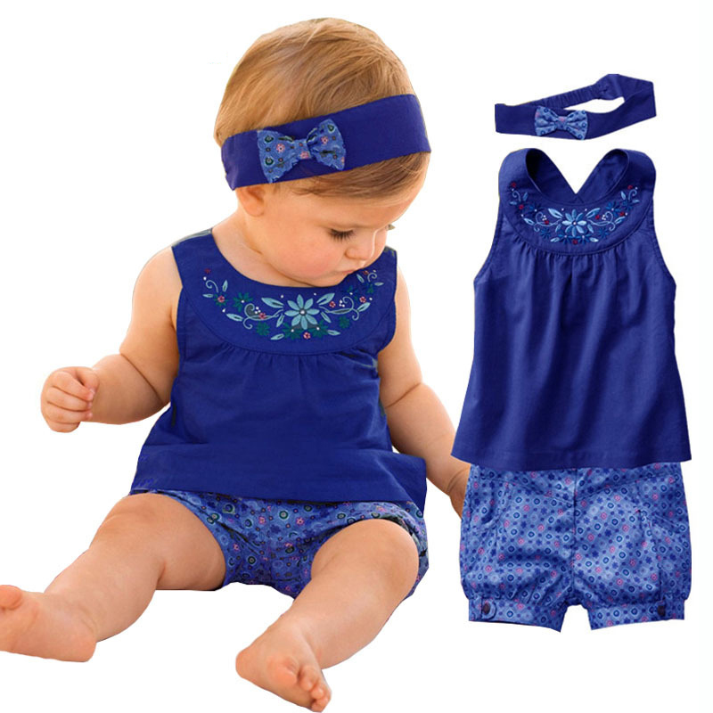 Fashion Lolita Blue Baby Vestidos Suits/Baby Kerchief+ Sleeveless Dress+ Gingham Plaid Pant/ Baby Clothing 2017 New Summer<br><br>Aliexpress