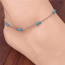 European and American Fashion Simple Hand-beaded Blue Acrylic Anklet Chain Link Ankle Bracelet Foot Jewelry For Women