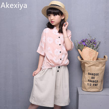 Akexiya Big Girl Clothes Fashion Girls Summer Set Clothes Suits Kids Half Sleeve T Shirt +Middle Pants Children Clothing Set(China)