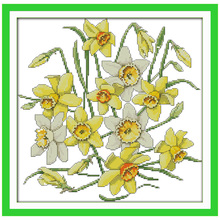 Free Ship Daffodils Flower Counted Cross Stitch Chinese Cross Stitch 11CT 14CT Cross-Stitch Kits Handmade Embroidery Needlework