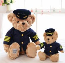 Free shipping  High Quality  New Cute Pilot Teddy Bear Plush Toy Captain Bear Doll Birthday Gift Kids Toy Baby Doll 009