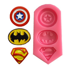 New Captain America Superman Batman Mark Chocolate Accessories Silicone Cake Mold Baking Tools A1339(China)