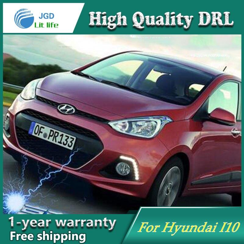 Free shipping !12V 6000k LED DRL Daytime running light case for Hyundai I10 2013 2014 fog lamp frame Fog light Car styling<br>
