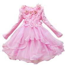 Flower kids girls Dress Spring Autumn Long sleeve cute baby Princess Lace clothes 2 6 7 10 12 years old Party Children's Costume(China)