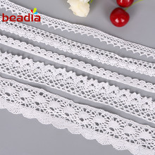 5yard/lot High Quality White Crocheted Fabric Cotton Lace Trim Ribbon Sewing Material for home garment handmade Accessories 30%