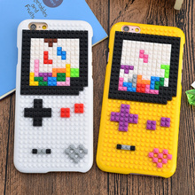 New Funny Cool DIY Brick Building Blocks Cartoon Mario Gameboy Hard PC Creatively Case for iPhone 6 6S 7 Plus+ Back Cover Shell(China)