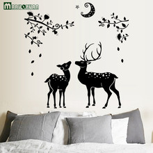 YunXi Black Moon Deer Silhouette Stickers Home Bedroom Bathroom Background Decoration Waterproof Wall Stickers 110*108CM