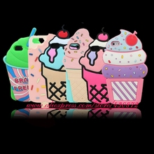 For iphone 6 6S Case HOT 3D Silicon Cupcake Ice Cream Style Cute Soft Cell Phone Back Skin Cover Case for iphone 6 6S 4.7 inch(China)
