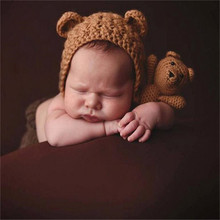 Newborn Photography Crochet Bear Ears Hats for Baby Photo Shoot Knitted Toy Bear Baby Cap Newborn Fotografia Chapeau Enfant Ete(China)