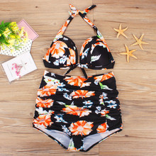 HOT SALE NEW Plus Size Women Push-Up Padded Bra Beach Bikini Set Swimsuit Print Sexy Swimwear Pet Socks #2DQ(China)