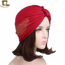 New Fashion Women Feather Diamante Soft Bamboo Fiber Turban Chemo Cap Headwrap Hair Loss Beanie(China)