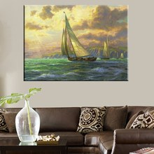 Best Gift Thomas Kinkade Landscape Reproduction Sailing Seascape Painting Prints Canvas High Quality Picture Room Decor Wall Art(China)
