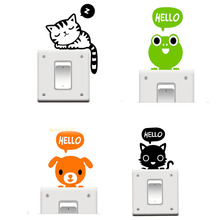Hot Sale 1 pcs/lot Cute Hello Animals Switch Stickers Wall Sticker Home Decoration for kids Bed rooms Parlor Decoration