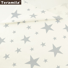 Teramila Fabric 100% Cotton Twill Material Bed Sheet Shining Grey Stars Design Sewing Bedding Decoration Scrapbooking Tecido(China)