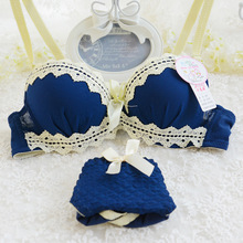 Free Shipping Bra Set A/B Cup 4 Solid Color Lace Girl Geometry Underwear Women Lingerie Bra+panties Underwire Push Up B991(China)