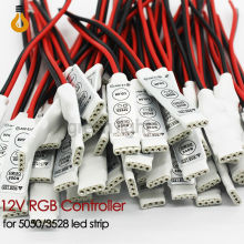 10pcs Mini RGB Controller Dimmer 12V 6A 3 Keys for 5050 3528 RGB Led Strip controller rgb 19 Dynamic Modes and 20 Static Color