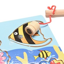 Wooden ocean fun of the preschool magnetic fishing toy parent-child toys Educational fishing game Kid Toys brinquedo de pescaria