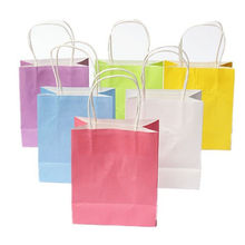 5pcs DIY Multifunction soft color paper bag with handles/ 21x15x8cm/ Festival gift bag /High Quality shopping bags kraft paper